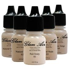 glam air airbrush makeup foundation system kit with 5 shades of