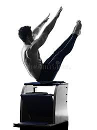 Pilates Chair Exercises Man Pilates Chair Exercises Fitness Isolated Stock Photo Image
