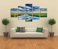 Large Artwork For Wall by 5 Panels Nature Landscape Canvas Print Painting Modern Canvas Wall