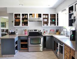 Overhead Kitchen Cabinets by Grey And White Kitchen Makeover Including Remarkable Units Walls