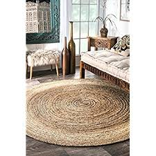 Round Woven Rugs Amazon Com Nuloom Natural Hand Woven Rigo Jute Rug Round 4