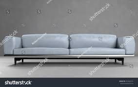 grey leather sofa front concrete wall stock illustration 432420379