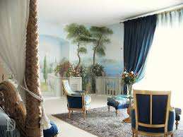 bedroom in mediterranean style with sentinel paintings and