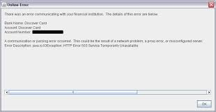 503 Service Temporary Unavailable by Error Dl Connecting To Discover New Bank Requests Discussion