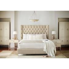 Modern Classic Furniture Oriana Modern Classic Ivory Upholstered Tufted Panel Bed Queen