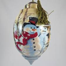 birch forest snowman ornament ne qwa painted glass