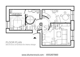 design house layout outline vector simple furniture plan floor stock vector 675002338