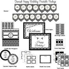 damask black u0026 white happy birthday printable party package