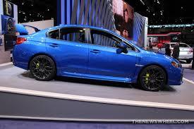 2017 subaru impreza sedan blue 2017 subaru wrx sti blue sedan car on display chicago auto show 3