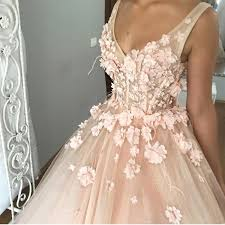 pink wedding dress v neck tulle gown floor length wedding dresses with flowers