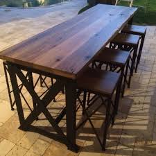 Reclaimed Wood Bar Table Dining Room Outdoor Tables Chairs Reclaimed Wood Outdoor Bar