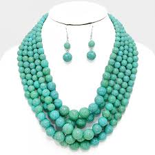 beads necklace images Natural howlite turquoise faceted beads three row layered jpg