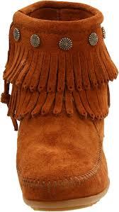 minnetonka double fringe side zip boots brown women u0027s shoes