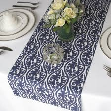 navy blue lace table runner pattern on white rectangle wood
