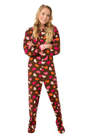 brown fleece w pink hearts womens footed pajamas onesie with drop