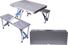 picnic tables folding with seats souq aluminum folding cing picnic table with 4 seats portable