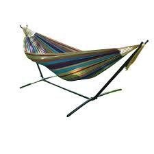 vivere 9 ft double cotton hammock with stand in tropical uhsdo9