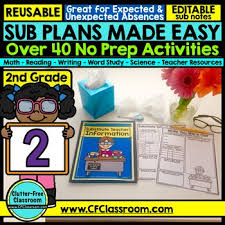 2nd grade substitute plans sub plans second grade substitute