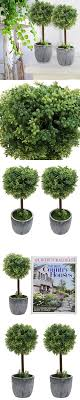 set of 2 small realistic artificial boxwood topiary trees faux