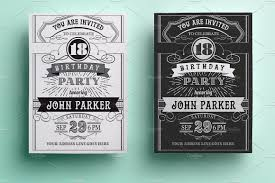 18th Birthday Invitation Card Vintage Birthday Invitation Invitation Templates Creative Market