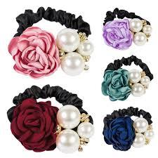 hair bands for women women satin ribbon flower pearls hairband ponytail holder