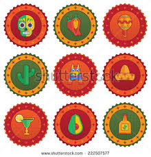 mexican pattern decoration blank label your stock vector 202244401