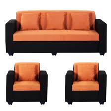 Orange Sofa Bed by Bharat Lifestyle Desy 5 Seater Sofa Set 3 1 1 Orange U0026 Black