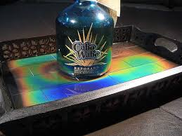 temperature sensitive color changing entertainment tray moving color