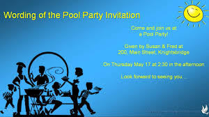 invitation msg for dinner pool party invitation wording youtube