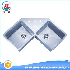 Kitchen Corner Sinks Stainless Steel by High Class Double Bowl Stainless Steel Hand Made Triangle Kitchen
