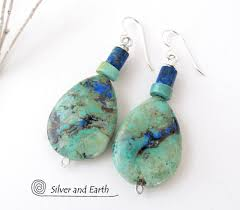 natural turquoise stone azurite malachite gemstone earrings semiprecious stone jewelry