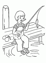 funny summer fishing coloring page for kids seasons coloring