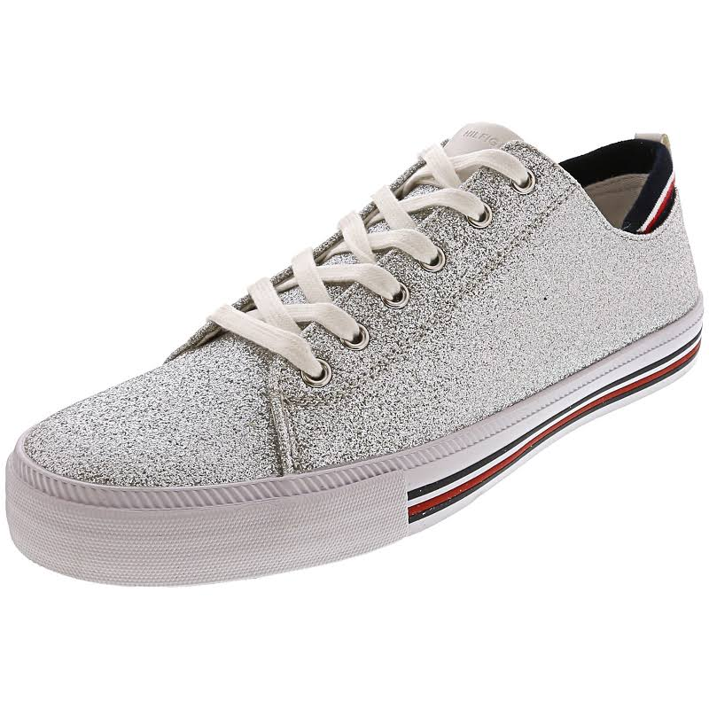 Tommy Hilfiger Two Fabric Low Top Lace Up Fashion, Silver,