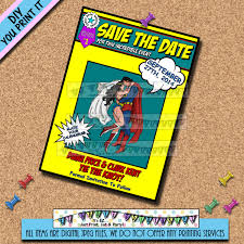 Invitation Card Superman Wedding Save The Date Superman Wonder Woman Comic Book Cover