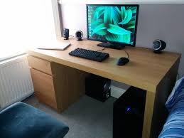 Oak Veneer Computer Desk New Desk Just Fits Battlestations