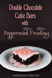 double chocolate cake bars with peppermint frosting eat at home