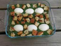 cuisiner epinard frais plat complet gratin d épinards frais aux oeufs et croûtons terre