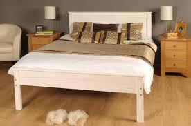White Wood King Bed Frame 3ft Single 4ft6 5ft King Size Caramel White