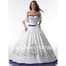 Blue Wedding Dress Royal Blue And White Wedding Dresses Obniiis Com