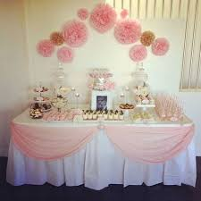 pink girl baby shower table diy table skirt idea by blanca