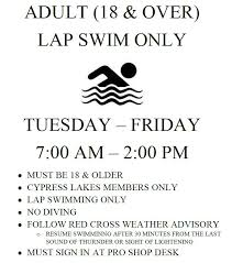 Cypress Resume Lap Swim Cypress Lakes Country Club