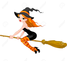 halloween witch flying on broom royalty free cliparts vectors