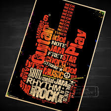 online get cheap rhythm wall aliexpress com alibaba group wordfill guitar create your own rhythm music poster vintage retro decorative diy wall stickers home posters art bar decor gift