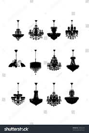 High Quality Chandeliers Set Silhouettes Crystal Chandeliers High Quality Stock Vector