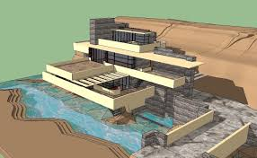 sketchup 3d architecture models fallingwater frank lloyd wright