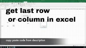 how to get last row in excel vba youtube