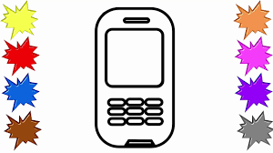 how to draw phone with buttons learning colouring videos for