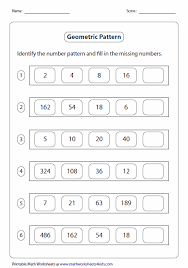 pattern and numbers pattern worksheets
