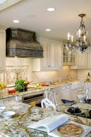 this neutral traditional kitchen features a custom reclaimed tin