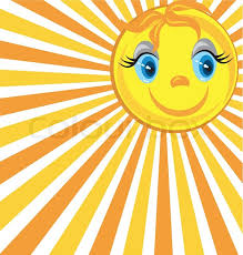 smiling sun with rays stock vector colourbox